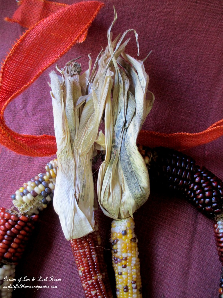 Tie the smaller Indian Corn on with wired burlap ribbon.