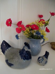 pottery vignette  http://ourfairfieldhomeandgarden.com/restaging-our-country-french-dining-room/