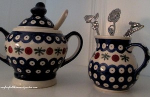 Polish pottery  http://ourfairfieldhomeandgarden.com/restaging-our-country-french-dining-room/