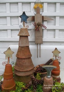 Flower Pot Trees https://ourfairfieldhomeandgarden.com/winter-decorating-at-our-fairfield-home-garden/