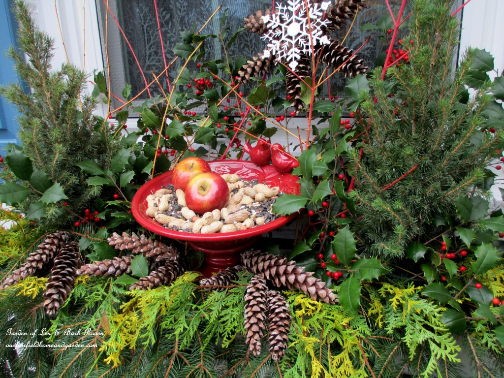 Winter Bird Feeder http://ourfairfieldhomeandgarden.com/winter-decorating-at-our-fairfield-home-garden/