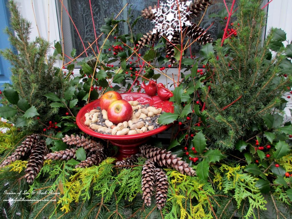 Winter Bird Feeder http://ourfairfieldhomeandgarden.com/winter-decorating-at-our-fairfield-home-garden/