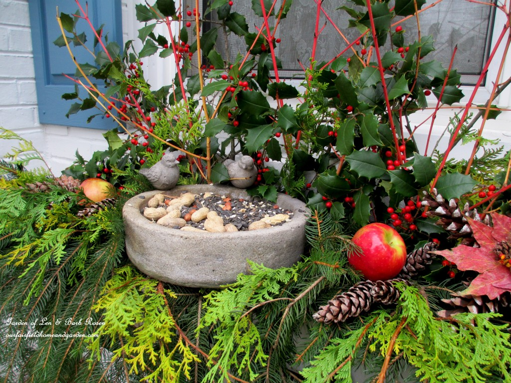 Winter Bird Window Box http://ourfairfieldhomeandgarden.com/winter-decorating-at-our-fairfield-home-garden/