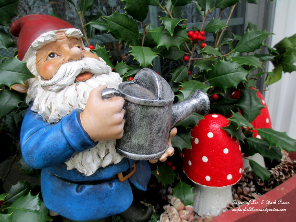 Garden Gnome  https://ourfairfieldhomeandgarden.com/winter-decorating-at-our-fairfield-home-garden/