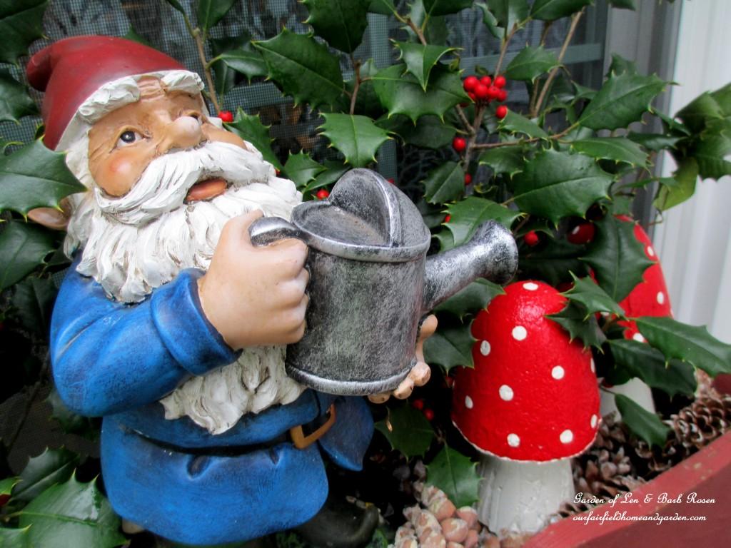 Garden Gnome  http://ourfairfieldhomeandgarden.com/winter-decorating-at-our-fairfield-home-garden/
