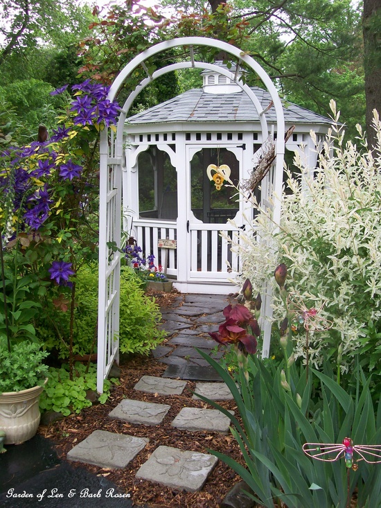 gazebo in the spring garden https://ourfairfieldhomeandgarden.com/spring-fever/