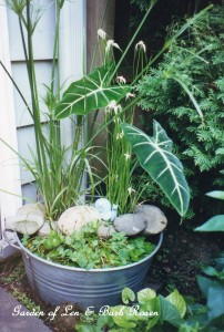 washtub water garden http://ourfairfieldhomeandgarden.com/diy-create-your-own-water-garden-in-a-container/