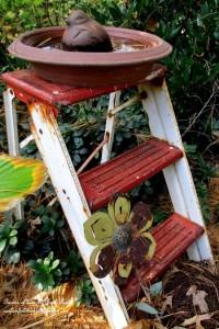 recycled birdbath http://ourfairfieldhomeandgarden.com/garden-walk-july-1st/