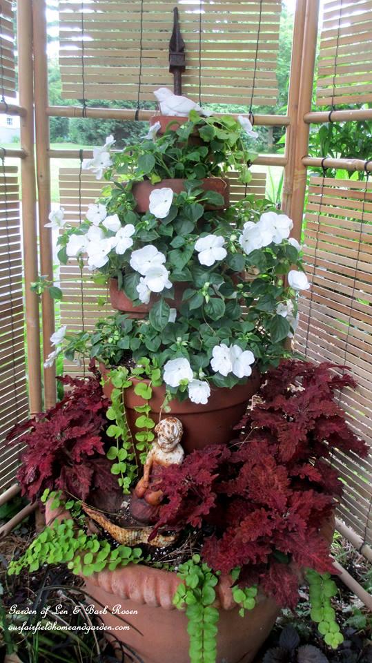 Tiered Planter http://ourfairfieldhomeandgarden.com/container-gardens-our-fairfield-home-garden/