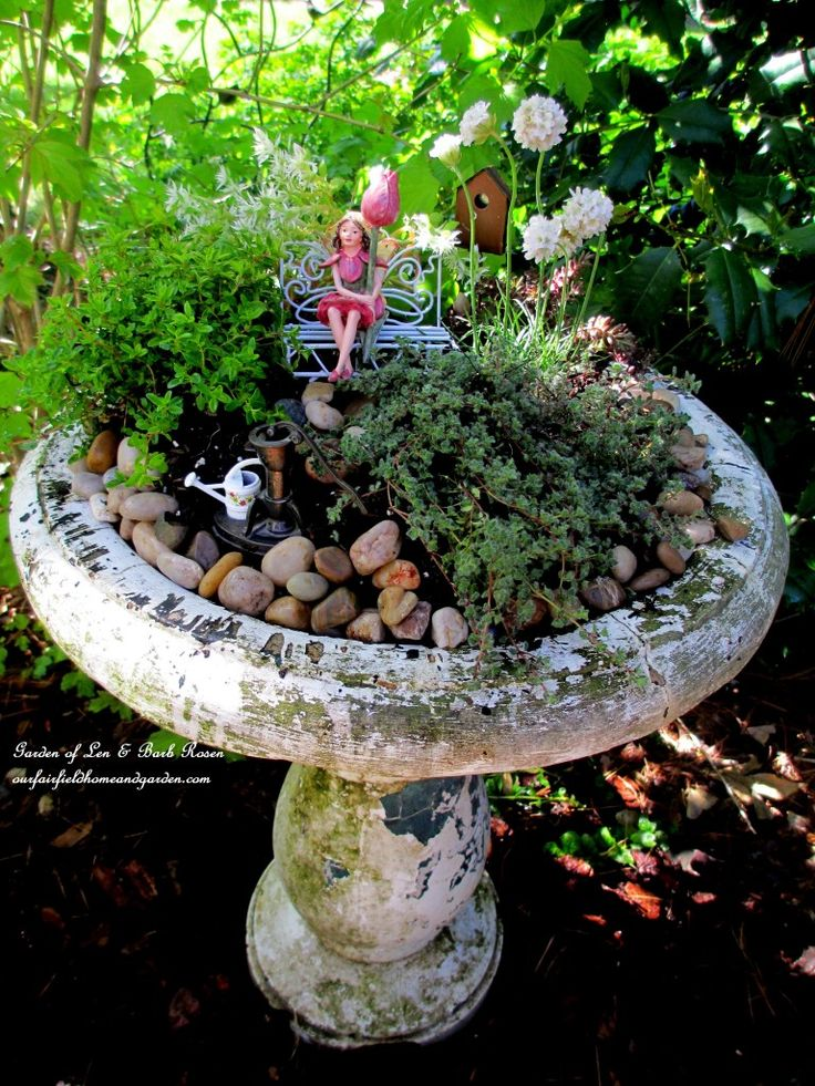 Birdbath Fairy Garden https://ourfairfieldhomeandgarden.com/diy-project-mothers-day-fairy-garden/