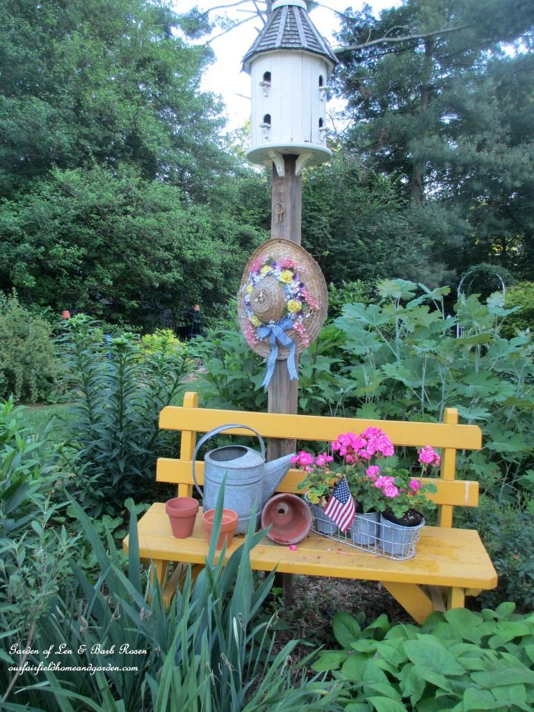 Garden bench https://ourfairfieldhomeandgarden.com/june-garden-our-fairfield-home-garden/