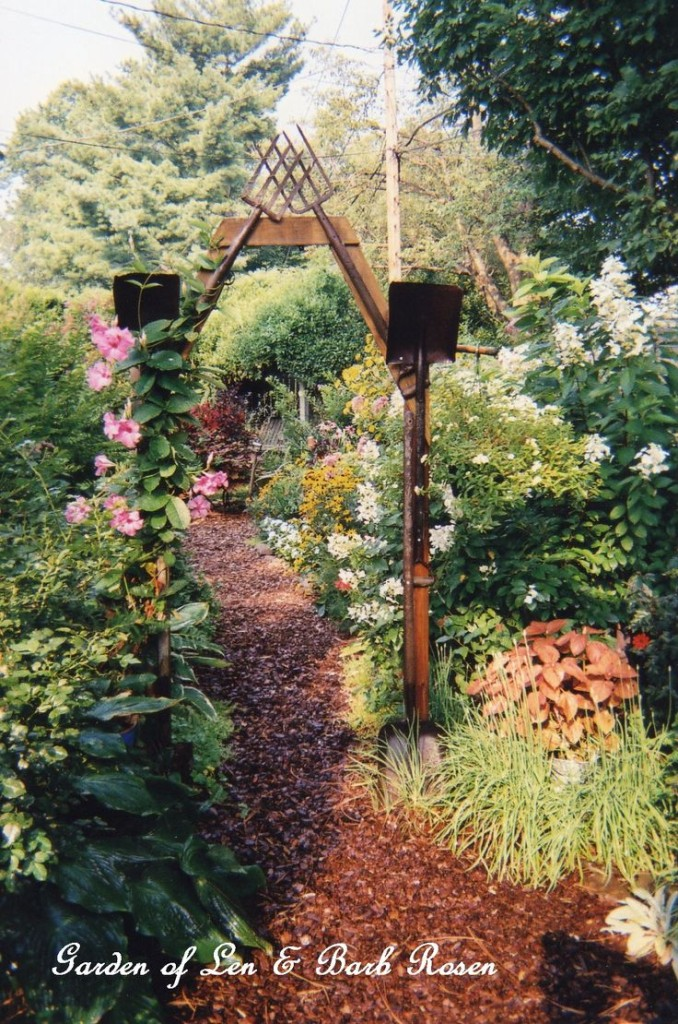 Rusty Tool Arbor https://ourfairfieldhomeandgarden.com/a-trip-down-memory-lane-my-former-garden/