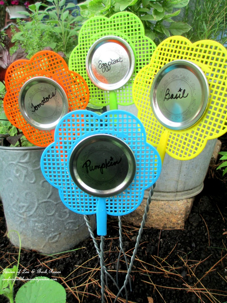 Fly Swatter Plant Markers http://ourfairfieldhomeandgarden.com/kitschy-kitchen-garden-accents/