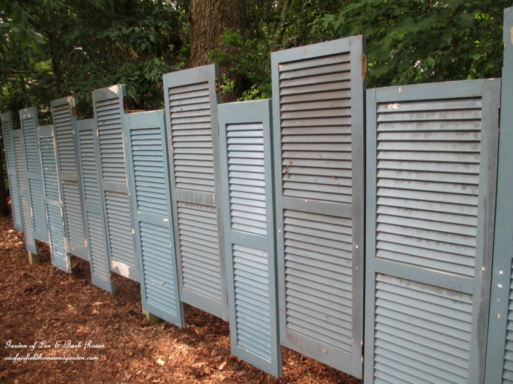 Salvaged Shutter Fence https://ourfairfieldhomeandgarden.com/salvaged-build-a-fence-from-shutters/