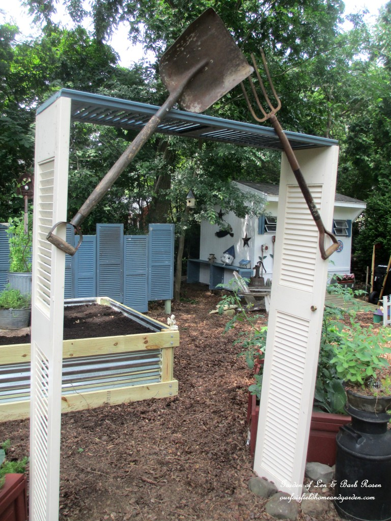 Salvaged Shutter Arbor https://ourfairfieldhomeandgarden.com/salvaged-build-a-shutter-arbor/