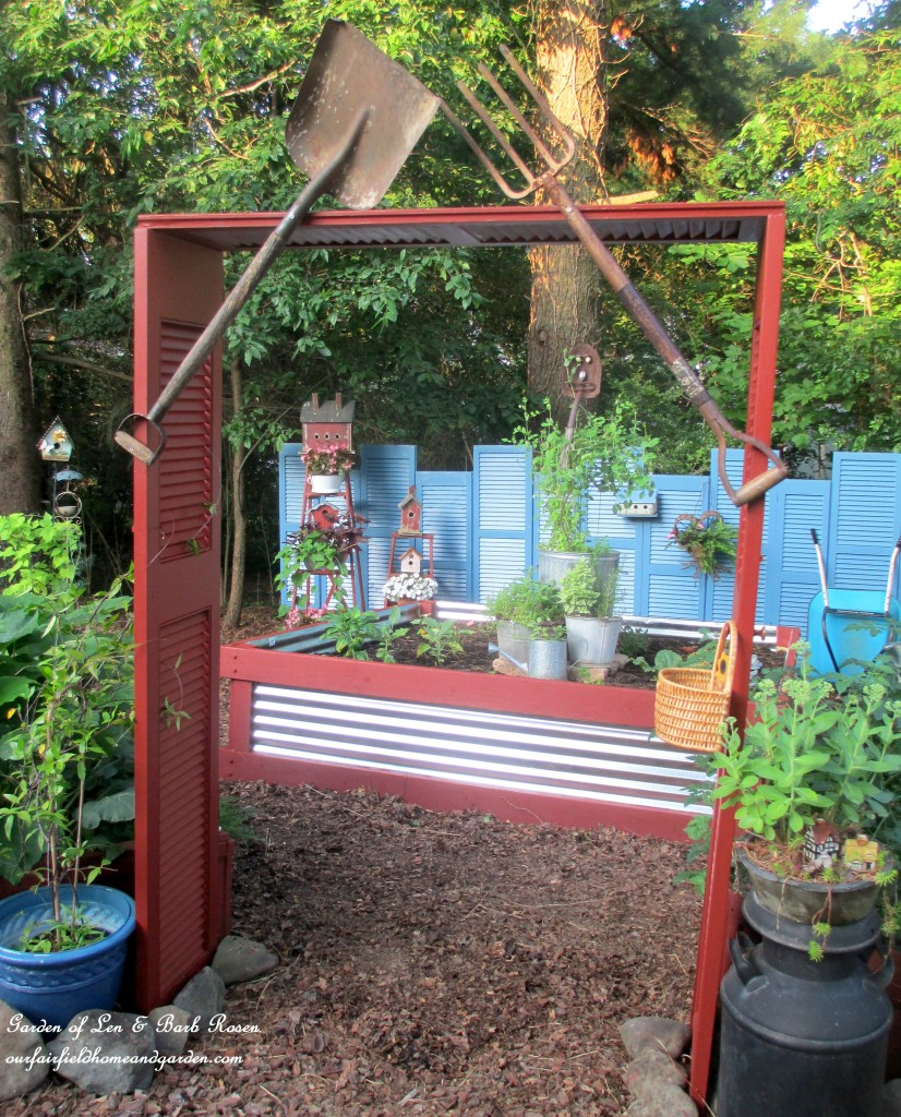 Shutter Arbor https://ourfairfieldhomeandgarden.com/salvaged-build-a-shutter-arbor/