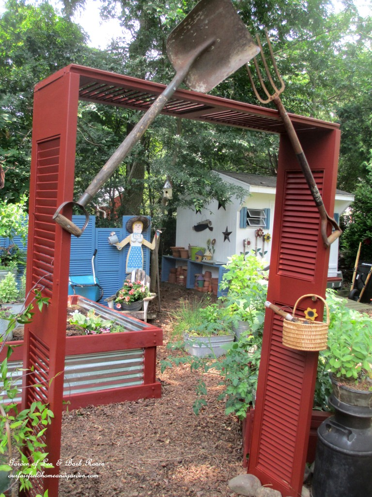 Salvaged Shutter Arbor http://ourfairfieldhomeandgarden.com/salvaged-build-a-shutter-arbor/