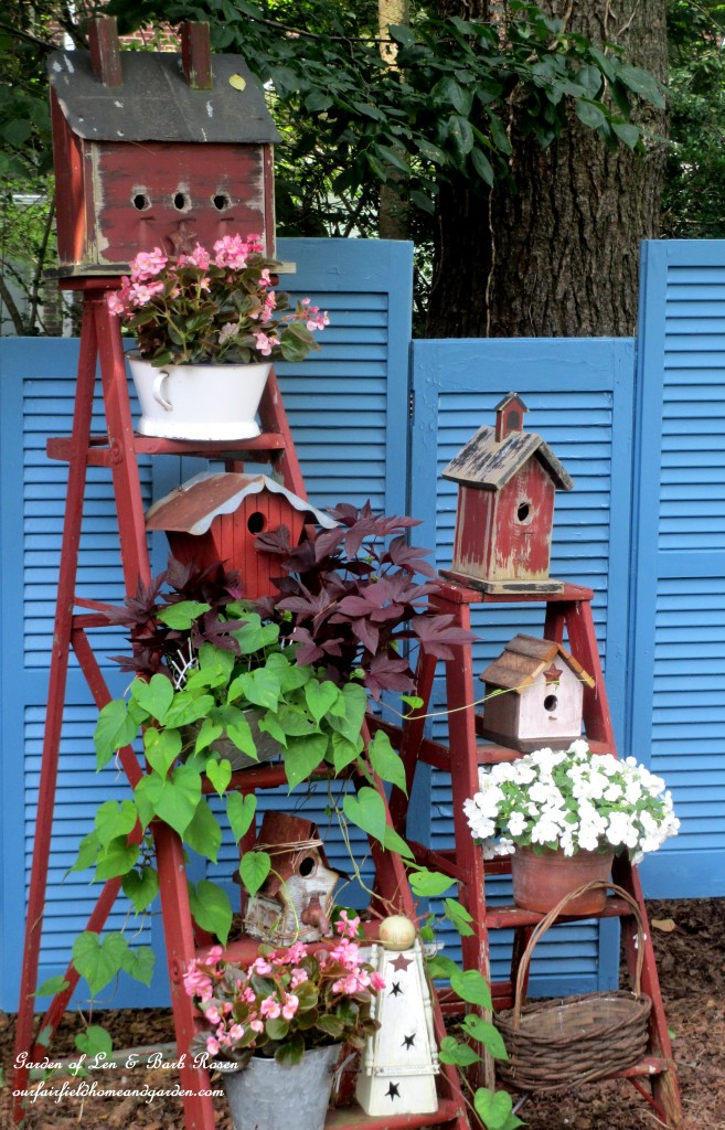 Birdhouse Ladders http://ourfairfieldhomeandgarden.com/salvaged-the-32-shutter-challenge-repurposing-shutters-in-the-garden/