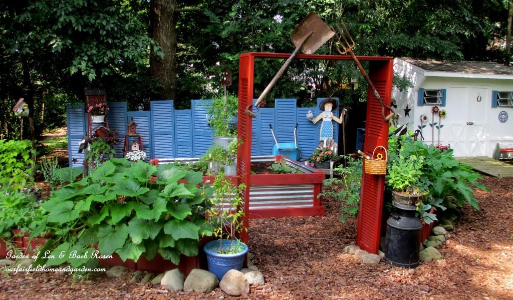 The Shutter Garden https://ourfairfieldhomeandgarden.com/salvaged-the-32-shutter-challenge-repurposing-shutters-in-the-garden/