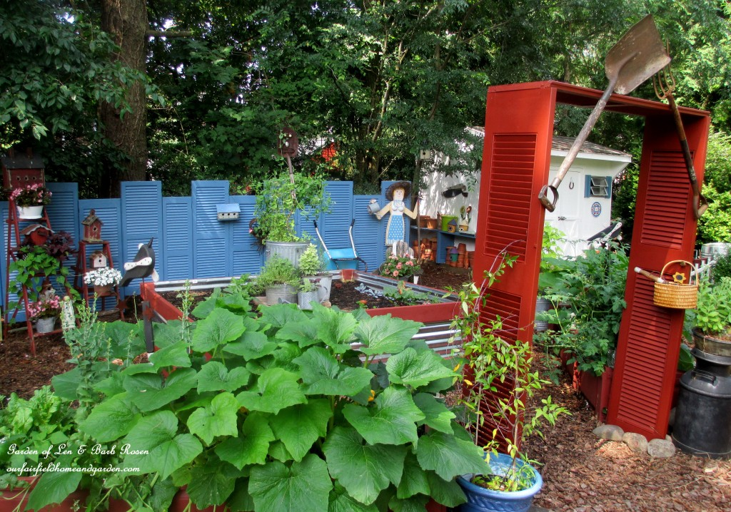 The Shutter Garden https://ourfairfieldhomeandgarden.com/salvaged-the-32-shutter-challenge-repurposing-shutters-in-the-garden/