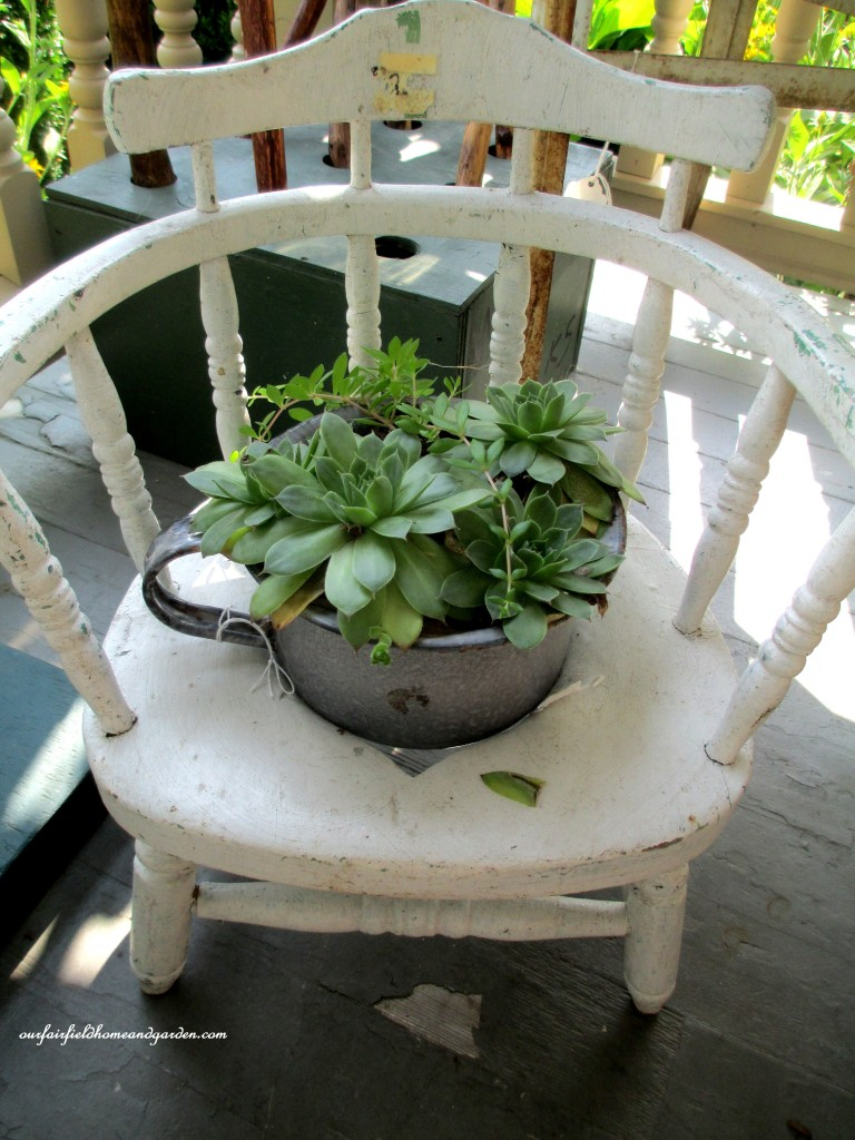 Planted Chair http://ourfairfieldhomeandgarden.com/field-trip-potting-bench-from-a-dresser-and-other-ideas-gathered-in-lancaster-county-pa/
