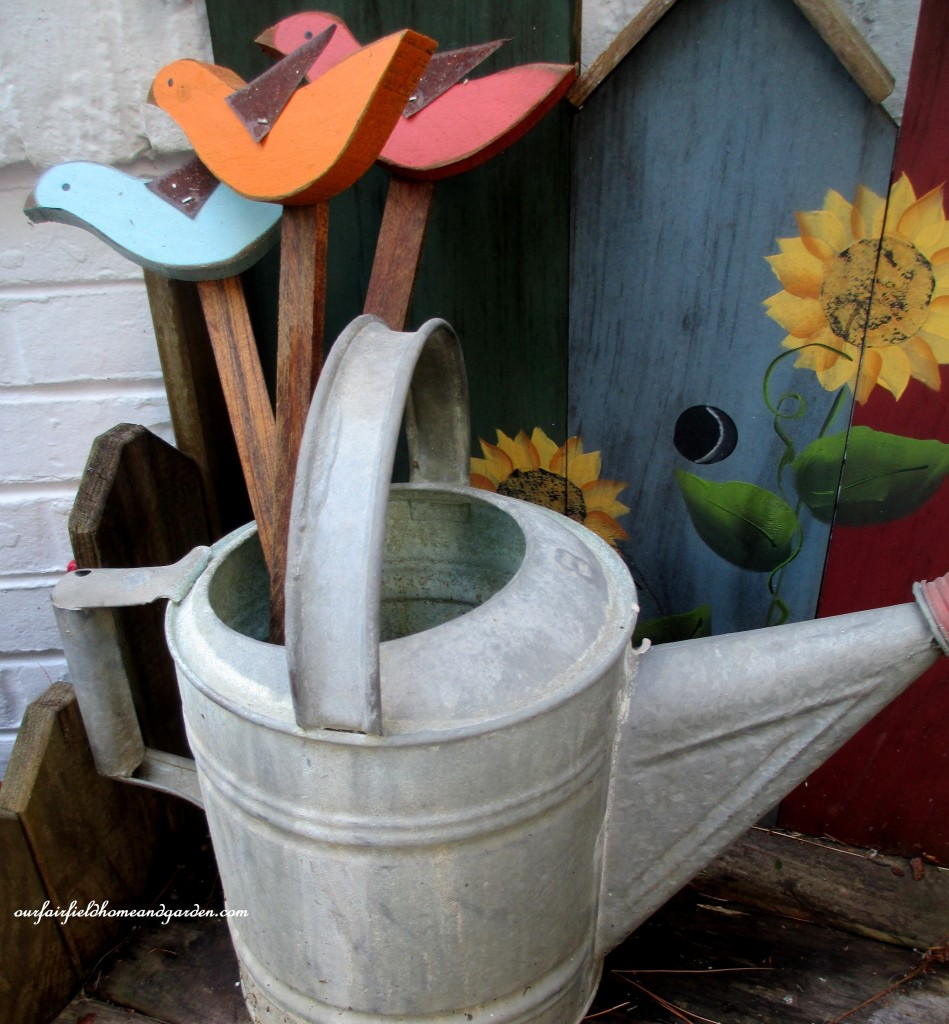wooden bird stakes http://ourfairfieldhomeandgarden.com/field-trip-potting-bench-from-a-dresser-and-other-ideas-gathered-in-lancaster-county-pa/