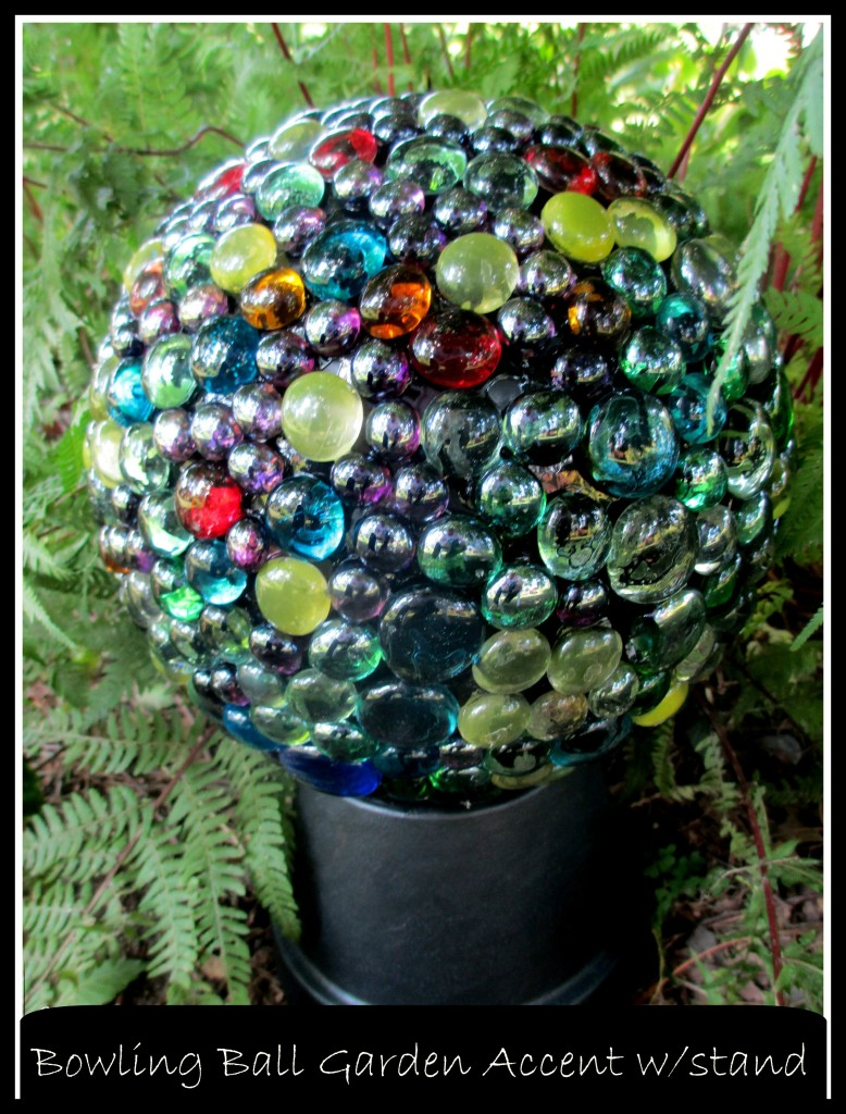 DIY Project ~ Bowling Ball Garden Accent https://ourfairfieldhomeandgarden.com/diy-project-bowling-ball-garden-accent/