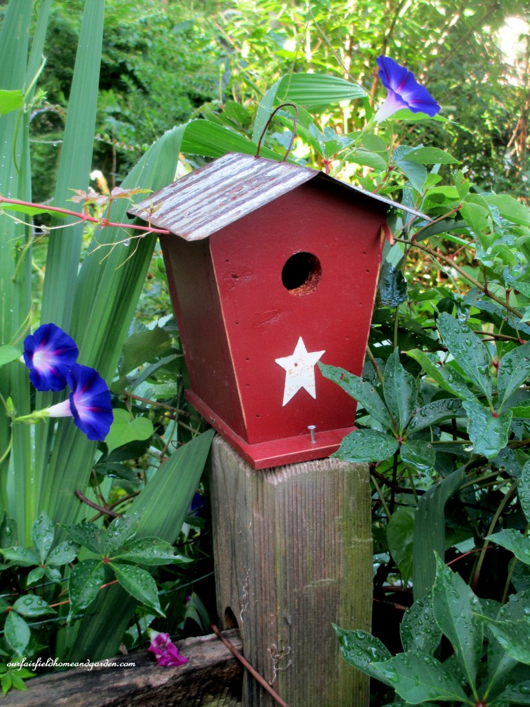 Morning Glories & Birdhouse https://ourfairfieldhomeandgarden.com/in-a-summer-garden-our-fairfield-home-garden/