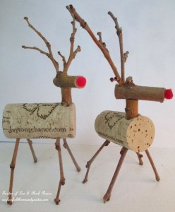 Twig and Cork Reindeer https://ourfairfieldhomeandgarden.com/enjoy-a-bottle-of-wine-and-make-a-twig-cork-reindeer/
