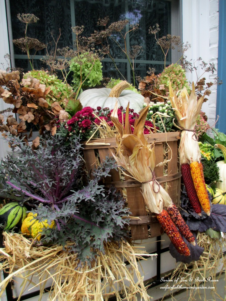 Fall Windowbox ~ Harvest Bushel Basket https://ourfairfieldhomeandgarden.com/fall-outdoor-decor-our-fairfield-home-and-garden/