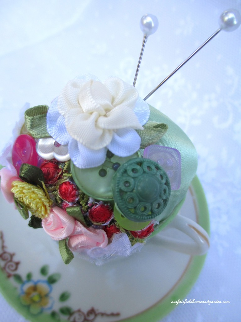 Pincushion Teacup http://ourfairfieldhomeandgarden.com/pincushion-teacup-a-keepsake-gift/