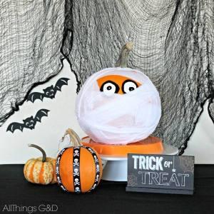 scariest pumpkin http://www.allthingsgd.com/2014/10/diy-mummy-pumpkin/