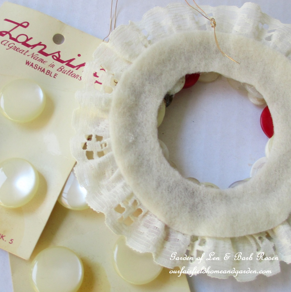 Making a Button Wreath Ornament http://ourfairfieldhomeandgarden.com/vintage-button-wreath-ornament-a-diy-in-your-sewing-basket/