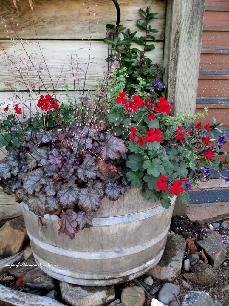 Barrel PLanter http://ourfairfieldhomeandgarden.com/an-oregon-trip-proposal-rock-at-neskowin/