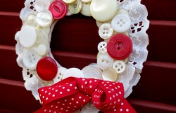 Red Ribboned Button Wreath