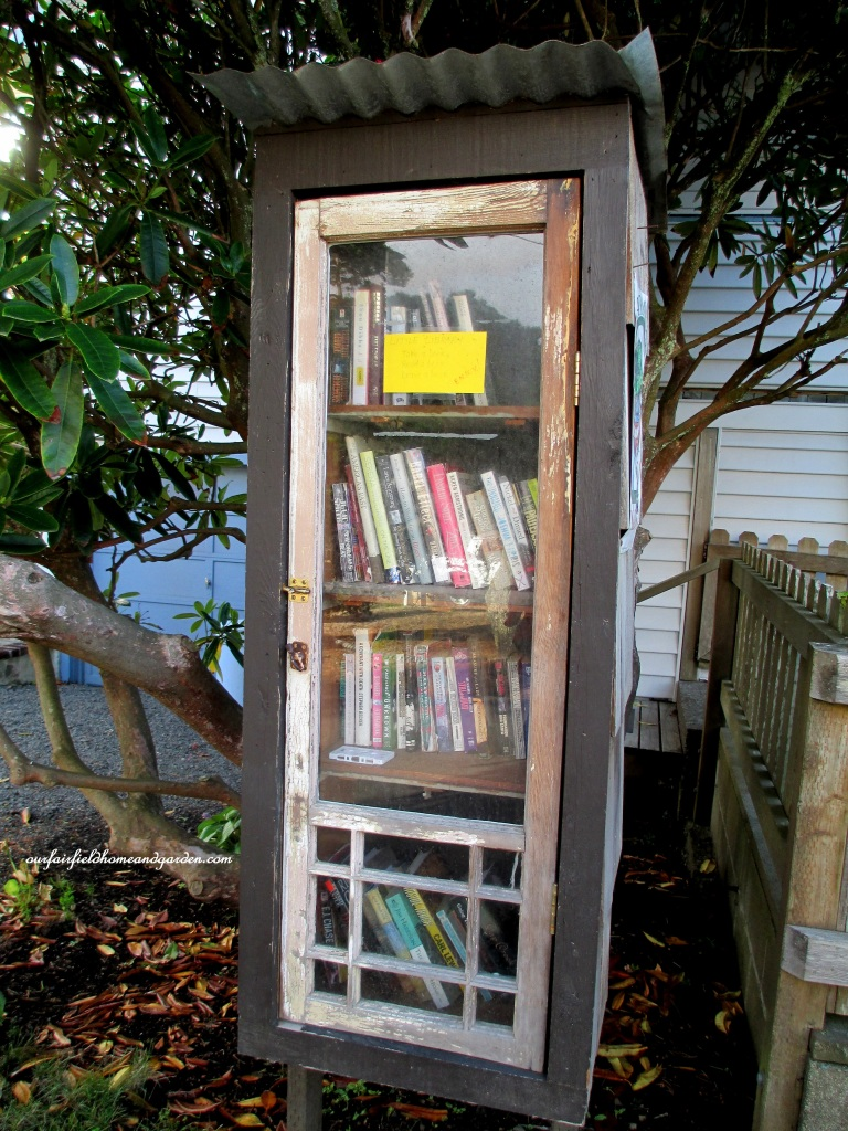 Free Lending Library https://ourfairfieldhomeandgarden.com/unexpected-garden-accents/