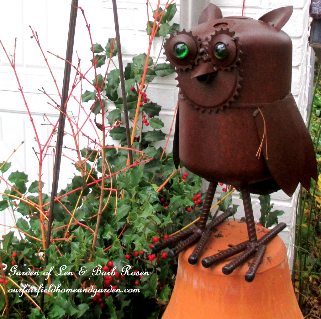 Winter Owl https://ourfairfieldhomeandgarden.com/rustic-watering-cans-windowboxes-more/