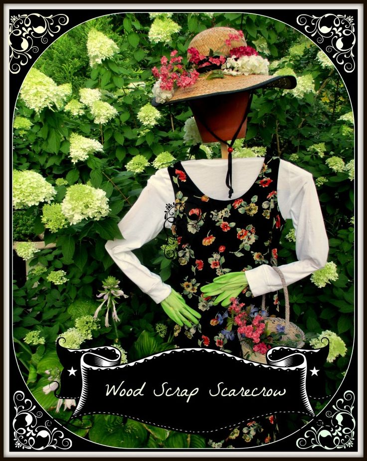 Wood Scarp Scarecrow https://ourfairfieldhomeandgarden.com/diy-project-wood-scrap-scarecrow-my-garden-maiden/