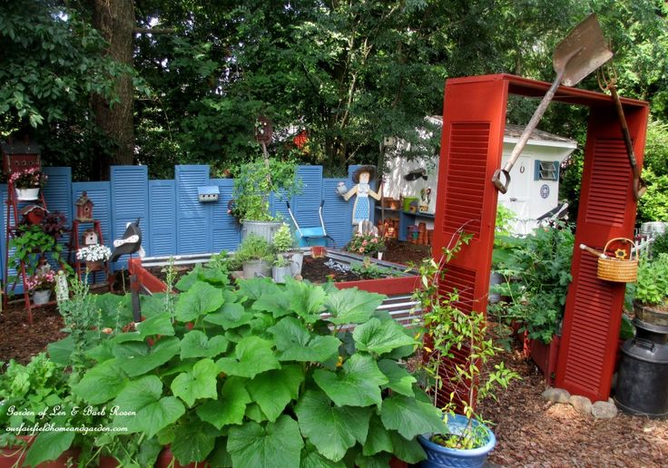 Shutter Garden https://ourfairfieldhomeandgarden.com/salvaged-the-32-shutter-challenge-repurposing-shutters-in-the-garden/