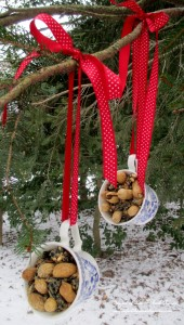 Teacup Birdfeeders https://ourfairfieldhomeandgarden.com/birdfeeders-use-what-you-have/