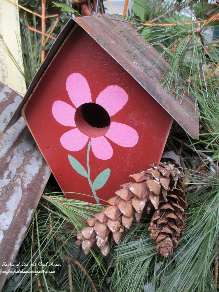 Flower Birdhouse https://ourfairfieldhomeandgarden.com/valentines-day-windowboxes/