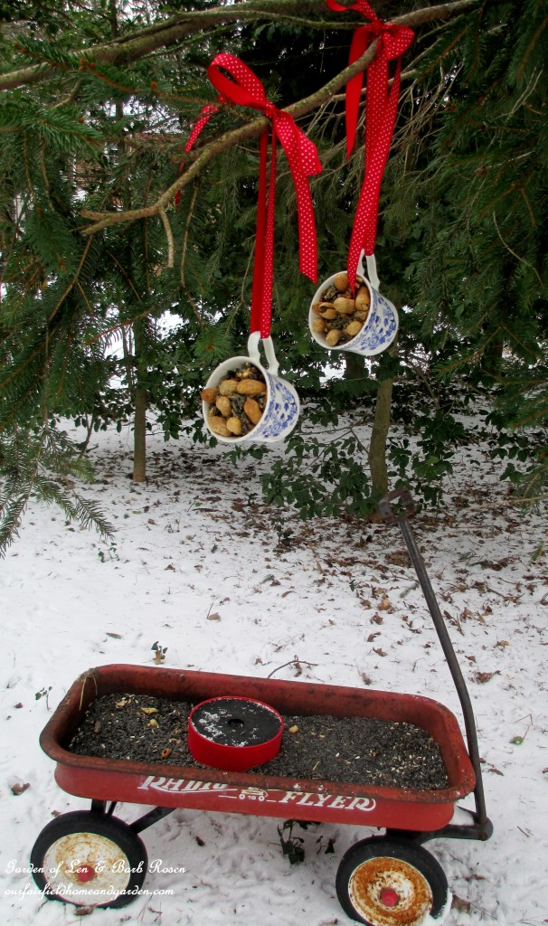 Recycled Birdfeeders https://ourfairfieldhomeandgarden.com/birdfeeders-use-what-you-have/