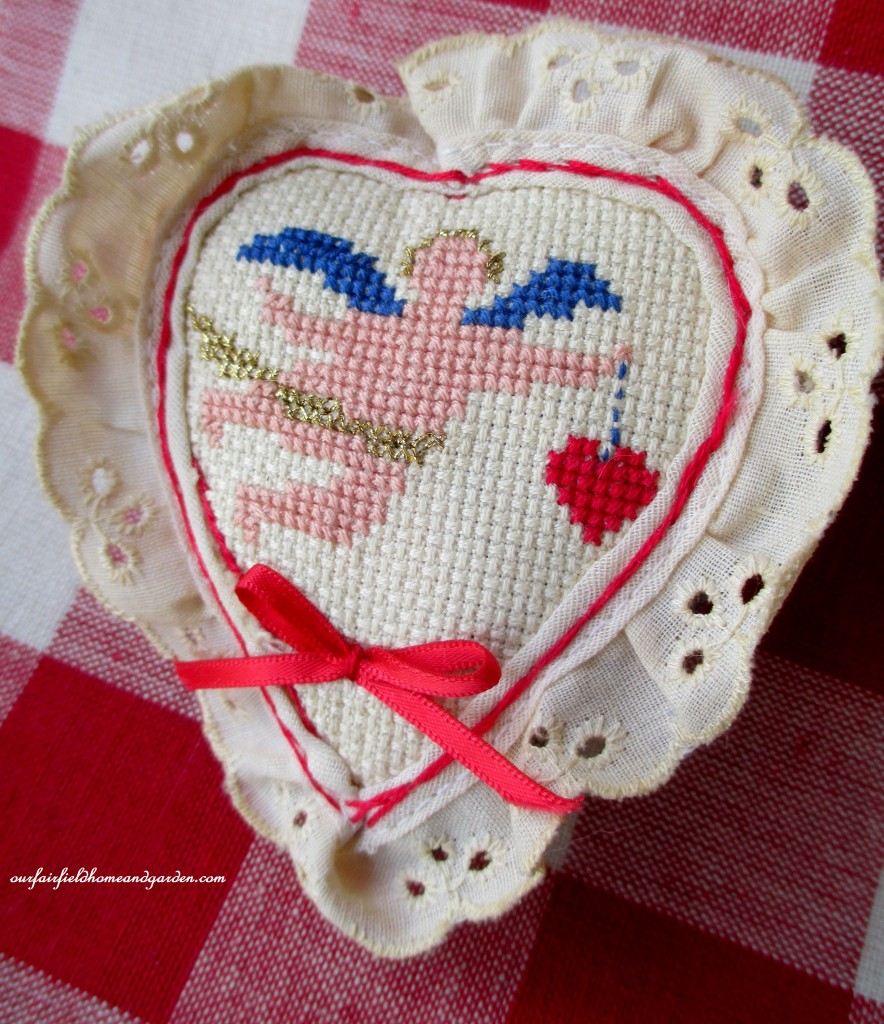 Cross Stitch Heart Sachet https://ourfairfieldhomeandgarden.com/be-my-valentine-win-an-amaryllis/