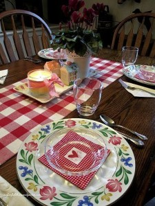Valentine's Day tablescape https://ourfairfieldhomeandgarden.com/be-my-valentine-win-an-amaryllis/