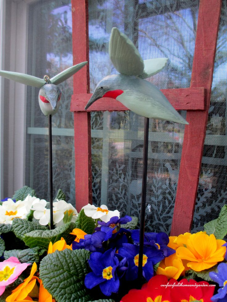 Windowbox with Primroses and Hummingbirds http://ourfairfieldhomeandgarden.com/spring-windowboxes/
