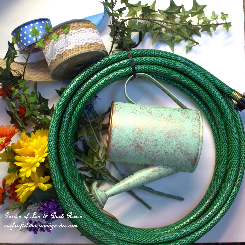 Hose Wreath Materials http://ourfairfieldhomeandgarden.com/diy-garden-hose-wreaths/