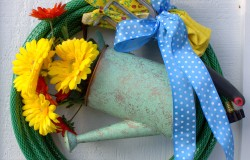 Hose Wreath with Watering Can
