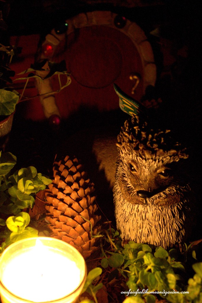 Spike takes the night watch in the garden.https://ourfairfieldhomeandgarden.com/the-enchanted-guardians-come-to-my-garden/
