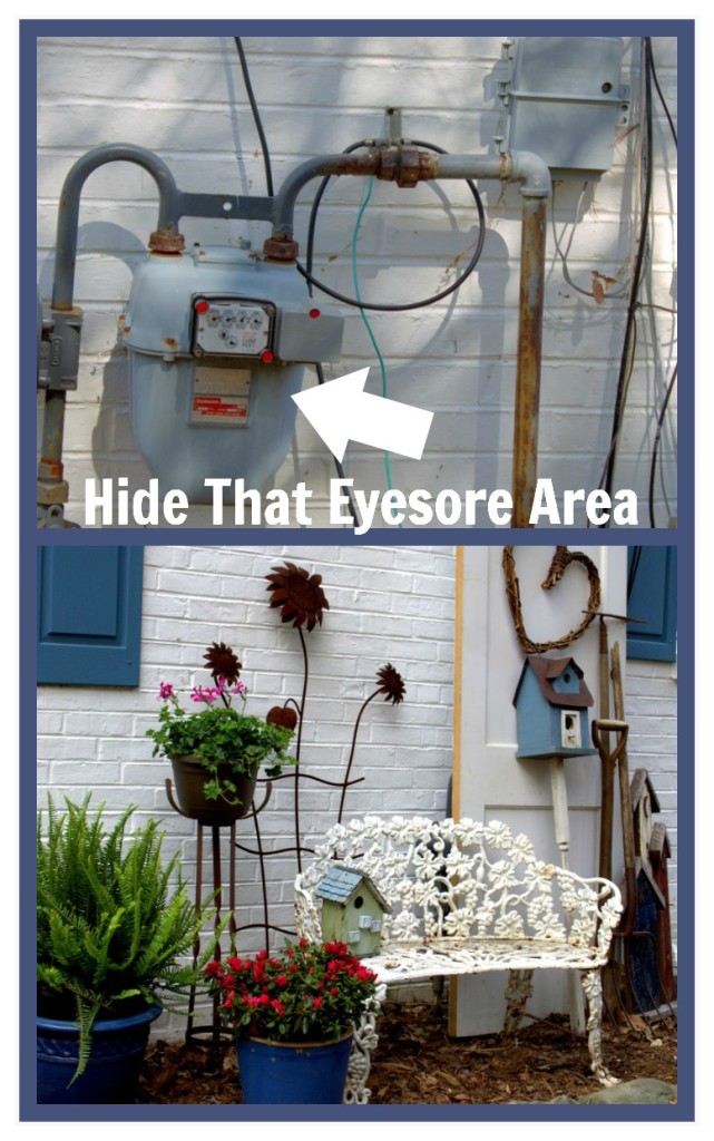 Hide that eyesore area with a country cottage vignette! https://ourfairfieldhomeandgarden.com/curb-appeal-hiding-an-eyesore-in-the-garden/