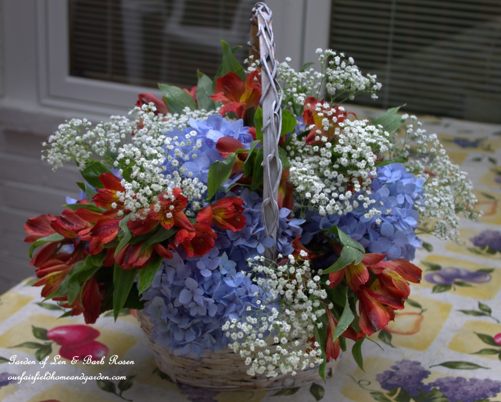 Diy basket bouquet for cheap our fairfield home garden last poke in the babys breath turn the basket as you add flowers to keep your colors evenly distributed izmirmasajfo Gallery